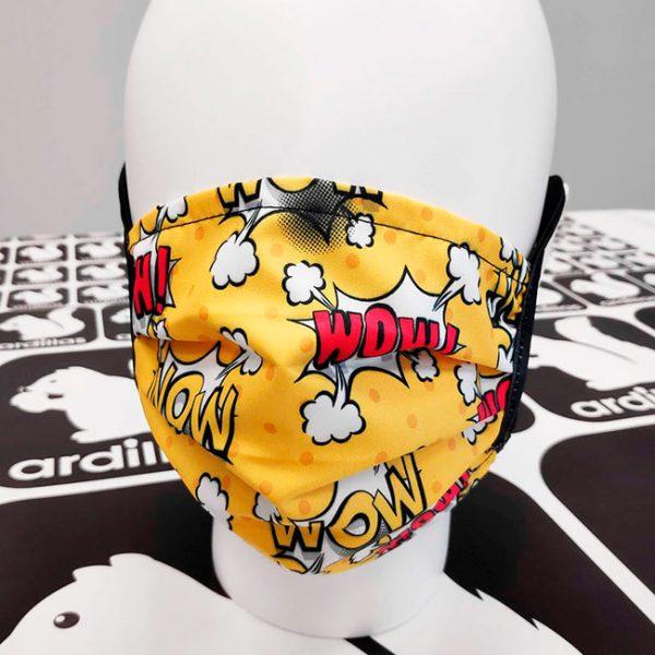 Mascarillas lavables diseño Comic color amarillo