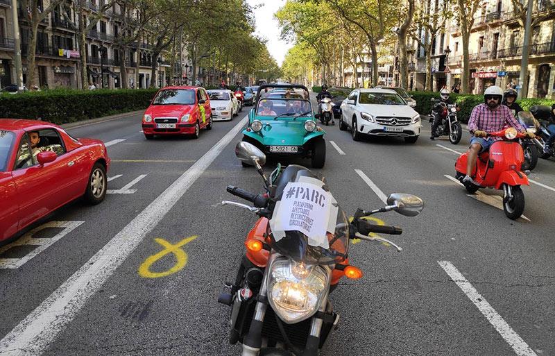 manifestación coches y motos Barcelona