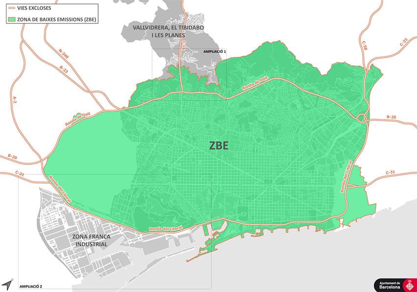 mapa zona bajas emisiones Barcelona